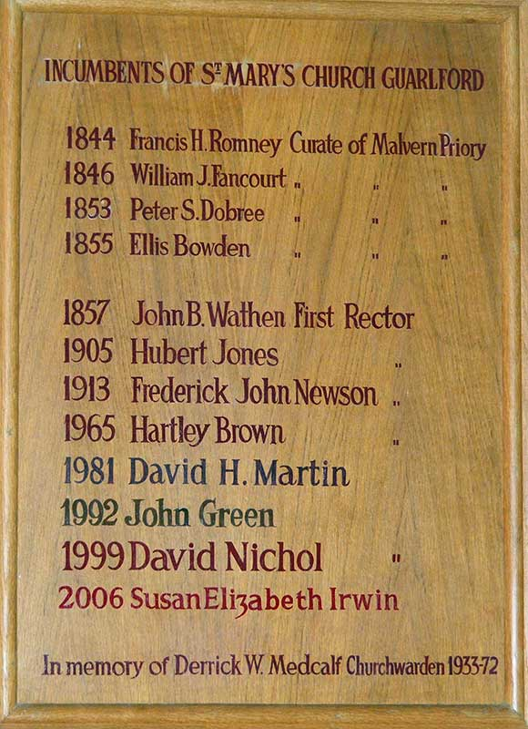 Incumbents of St Mary Guarlford